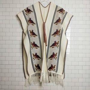 Vintage floral knit serape soft knit poncho